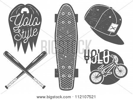 Vector set of vintage sport labels, emblems, logo. Yolo lettering and typography. Skateboard, baseba