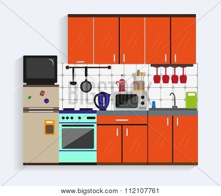 Kitchen interior with furniture in flat style. Design elements and icons, utensils, tools, cabinets,