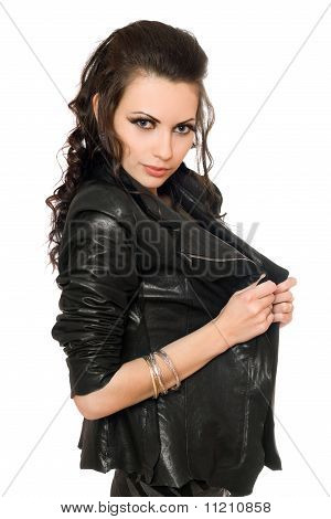 Portrait Of Playful Sexy Brunette In Black Clothes