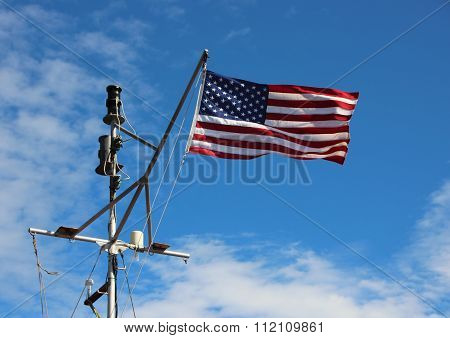 Maritime American Stars And Stripes Flag On Ship Pole