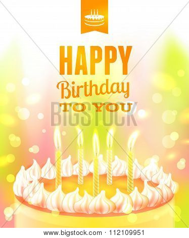 Happy Birthday Background With Cake. Vector Illustration, Eps10.
