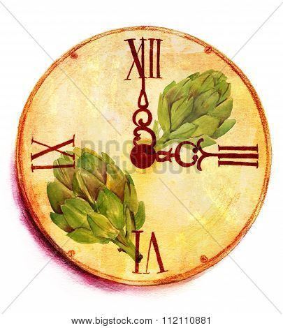 A grunge watercolor drawing of a vintage clock with artichokes on white background