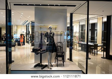 SINGAPORE - NOVEMBER 08, 2015: shop window of Chanel store. Chanel S.A. is a high fashion house that specializes in haute couture and ready-to-wear clothes, luxury goods and fashion accessories