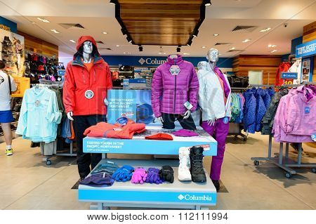 SINGAPORE - NOVEMBER 07, 2015: interior of Columbia Sportswear store. Columbia Sportswear Company is a United States company that manufactures and distributes outerwear and sportswear