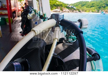 Scuba Diving Air Tank On Boat