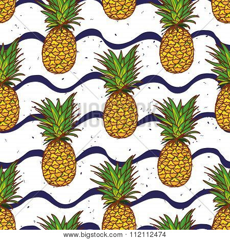Pineapple And Navy Waves Seamless Vector Print