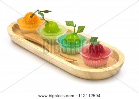 Deletable Imitation Fruits (kanom Look Choup) On White Background.
