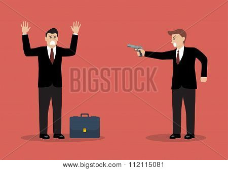 Businessman Hold A Handgun Robs A Businessman With Briefcase