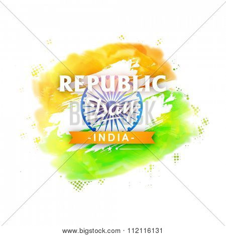 Elegant greeting card design with Ashoka Wheel and National Flag colours for Indian Republic Day celebration.