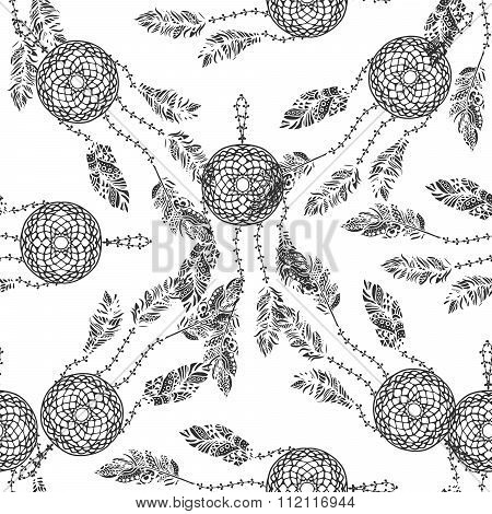 Hand drawn vector doodle black dream catcher with feathers seamless pattern set on white.