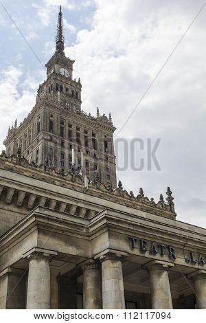 Warsaw, Poland. City Center With Palace Of Culture And Science (pkin), A Landmark And Symbol Of Stal