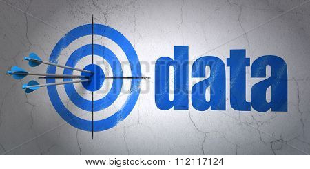 Information concept: target and Data on wall background