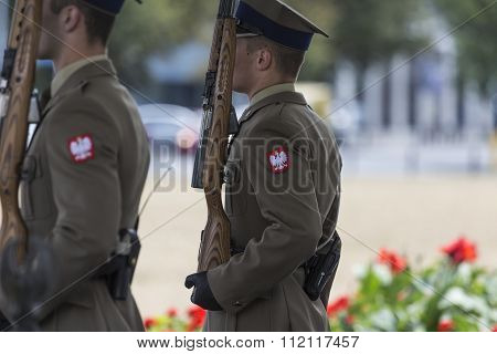 Warsaw, Poland - July, 08: The Tomb Of The Unknown Soldier At Pilsudski Square, On July 08, 2015. To