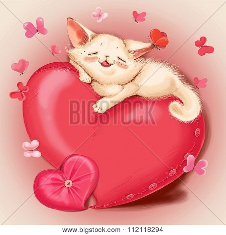 Cat Lying On A Red Pillow - Heart.