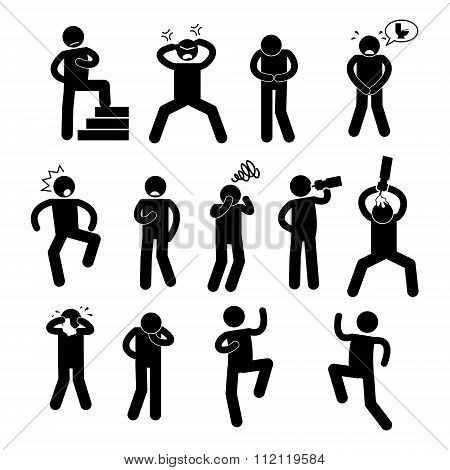 Human Action PosesVarious Postures Stick Figure Pictogram Icons