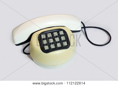 Old Plastic Push-button Telephone .