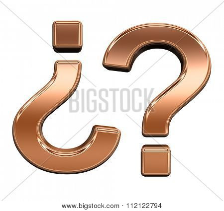 Question mark from shiny copper alphabet set, isolated on white. Computer generated 3D photo rendering.