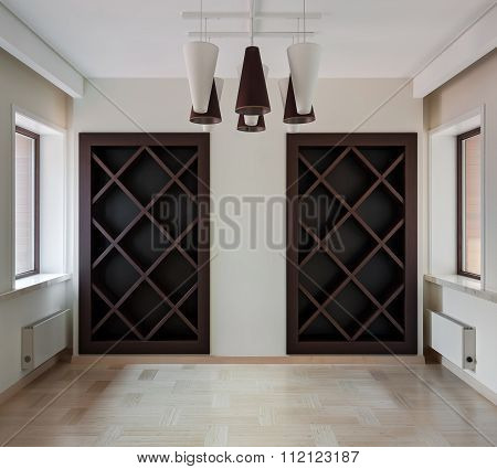 Interior Of Modern Empty Space With Closet And Windows