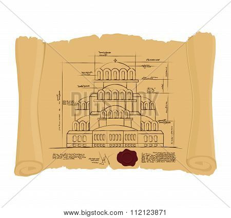 Drawing Of Church Of St. Alexander Nevsky Of Ancient Scroll. Retro Scheme Of Ancient Cathedral. Old