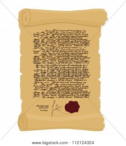 Ancient Royal Decree With Print. Secret  Old Yellow Scroll. Abstract Calligraphy Text. Antique Manus