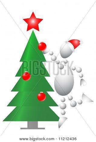 Man Decorate Christmas Fur-tree
