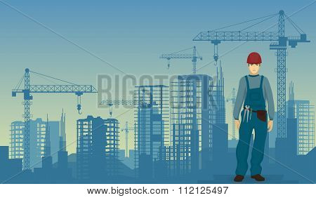Builder man worker on the under construction buildings background