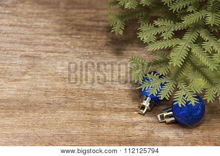 Wooden Background With Christmas Toys Under The Tree