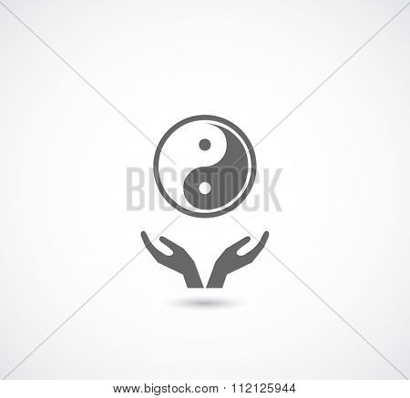 hands support ying yang symbol icon