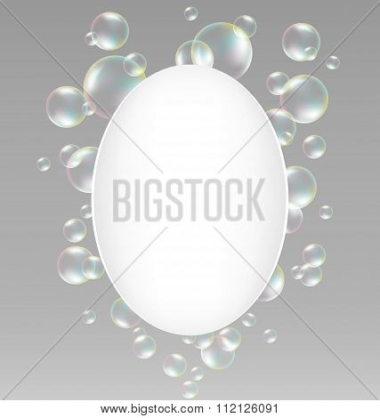 soap bubbles with frame on grayscale