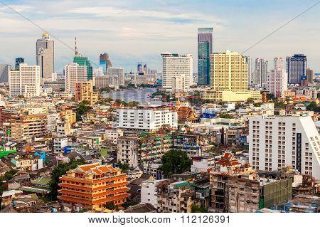 Bangkok skyline with high building at sunset Thailand.