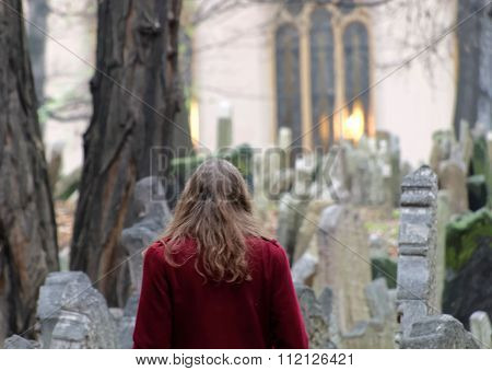 Old Jewish Cemetery And A Woman, Prague