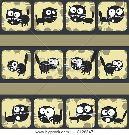 Set Of Funny Cats. Abstract Shooting Gallery. Vector