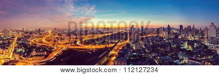 Bangkok Expressway top view in panorama at sunrise Thailand.