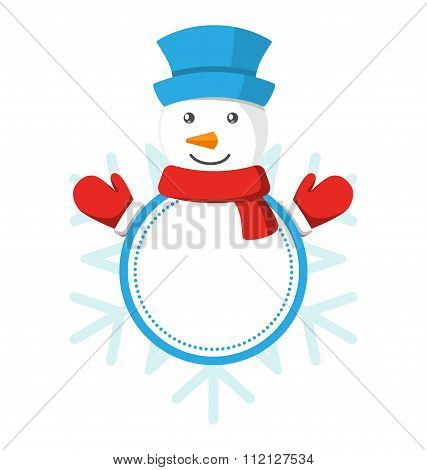 Christmas Label Icon Flat with Snowman Isolated on White