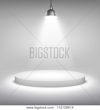 Illuminated White Stand Podium to Place Object Template on Grays