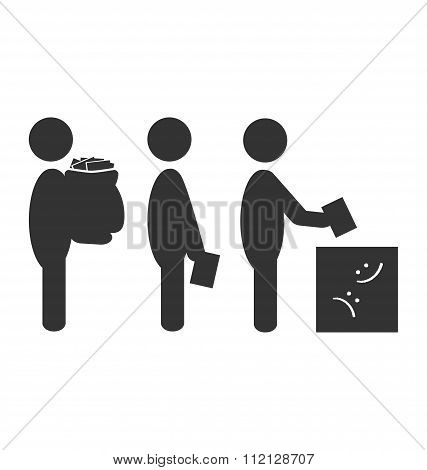 Flat box offer icon isolated on white