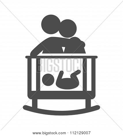 Parents put to sleep the baby pictogram flat icon isolated on wh