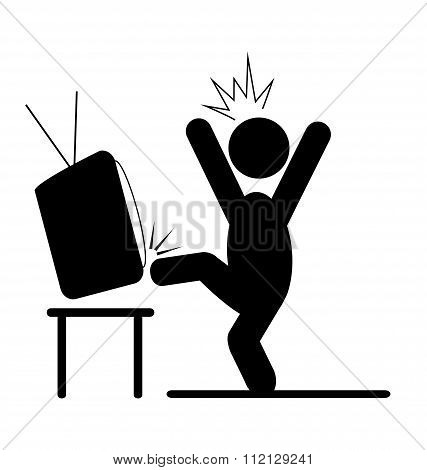 Angry man kicking TV pictogram flat icon isolated on white
