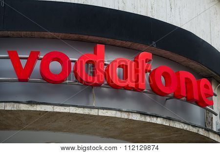 Brasov, Romania -dec 8, 2015: Logo Of Vodafone - Vodafone Is A British Multinational Telecommunicati