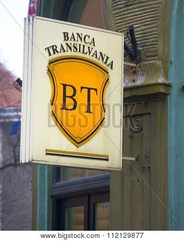 Brasov, Romania - December 8, 2015: Transylvania Bank Logo In Brasov, Romania