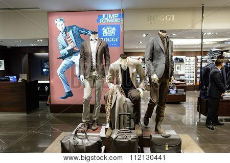 SINGAPORE - NOVEMBER 08, 2015: interior of Boggi Milano store. Boggi Milano is an Italian menswear brand founded in 1939
