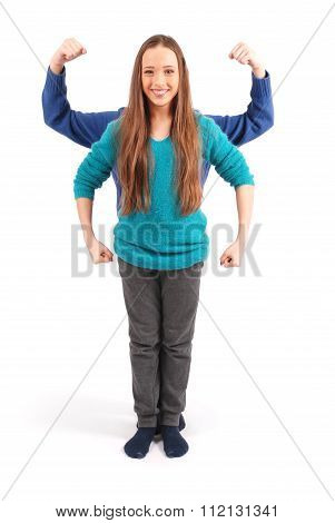 Boy And Girl Portrayed Muscles