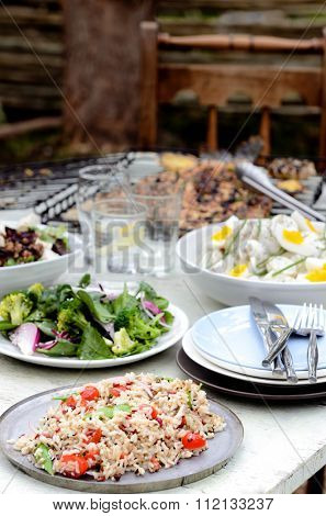Table full of side dishes, variety assortment of salads for a party gathering in the garden outdoors