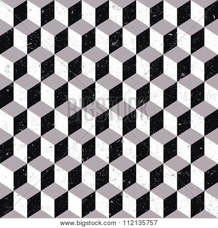 Seamless background image of worn out grey tone cubic square geometry pattern.