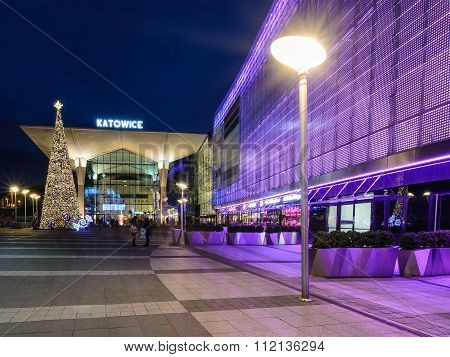 The newly created Galeria Katowice and railway station  in Katowice decorated by the christmas light