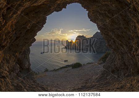 Sun Setting Behind The Coastal Cliffs. Crimea.