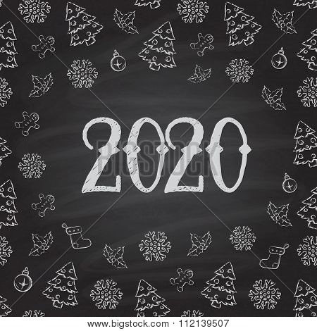 Christmas or New Year or blackboard design.