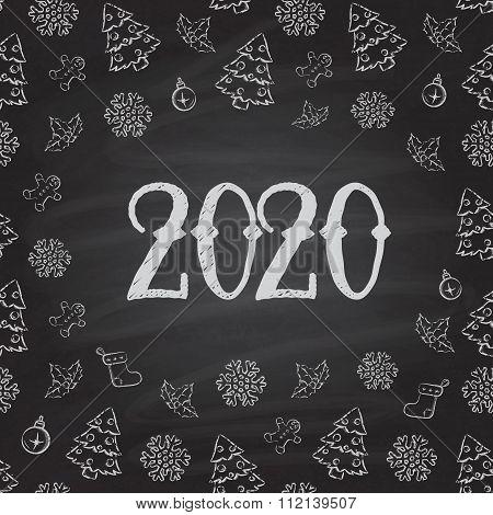 Christmas or New Year or blackboard design.