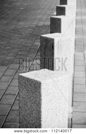 Abstract Architecture Composition, White Square Bollards