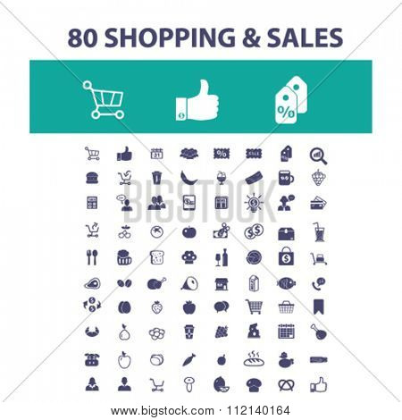 shopping, sales, supermarket, retail  icons, signs vector concept set for infographics, mobile, website, application